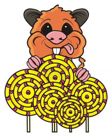 Hamster holding many round candys