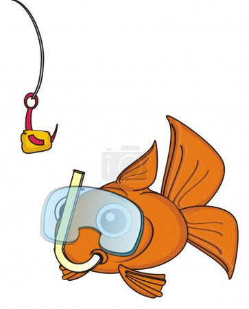 Goldfish in mask looking at hook with lure...