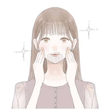 Illustration pour It is the front and bust-up of a young woman who is doing skin care. - image libre de droit
