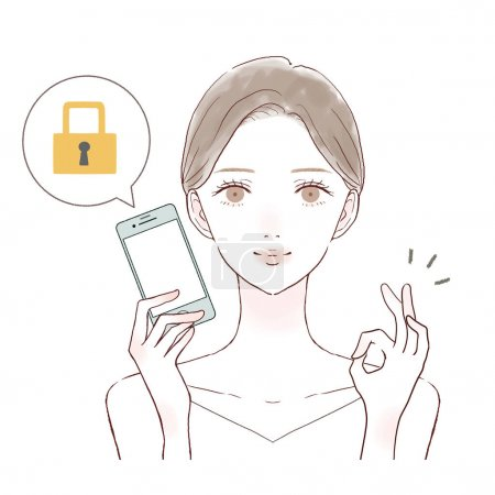 Illustration for It is a woman with a smartphone with security measures. - Royalty Free Image