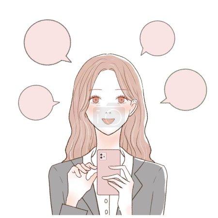 Illustration pour C'est une femme en costume qui poste bouche à oreille avec un smartphone. - image libre de droit