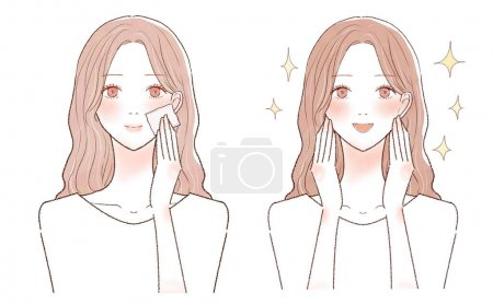Illustration for A woman's before and after taking facial sebum with a piece of paper. On a white background. - Royalty Free Image