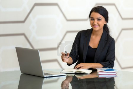 Corporate assistant Office consultant executive woman business finance in suit smiling while working