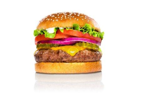 Perfect hamburger classic burger american cheeseburger isolated on white reflection