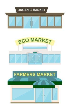 Storefront, raster illustration.