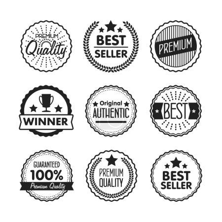 Photo pour Collection de qualité Premium, Étiquettes de garantie, Best Seller et Icône Gagnant avec un design rétro style vintage. Collection de symboles de contour. Concept de logo bitmap de course pour des graphiques web. - image libre de droit