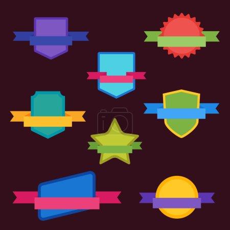 Photo pour Badges Bitmap style moderne plat. Big Set de Bitmap Étiquette, Autocollant, Tags. Collection d'insignes abstraits colorés et d'autocollants . - image libre de droit