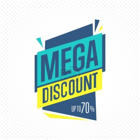 Photo pour Badge de vente, raster dans un style design plat. Badge rabais Mega . - image libre de droit