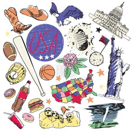Photo pour Liberté, hamburger, baseball et autres. États-Unis attractions touristiques ensemble. Dessin manuel . - image libre de droit