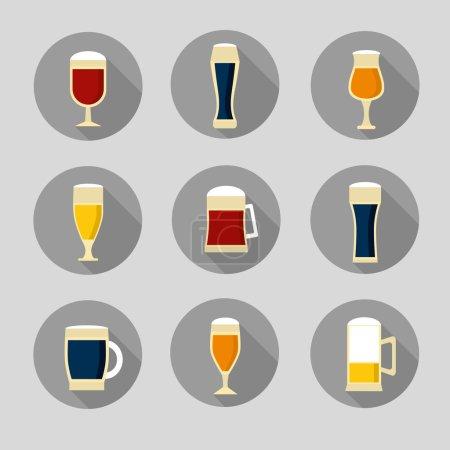 Beer glasses and bottles.