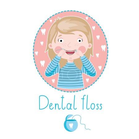 Photo pour Fille souriante fil dentaire pour se brosser les dents - image libre de droit