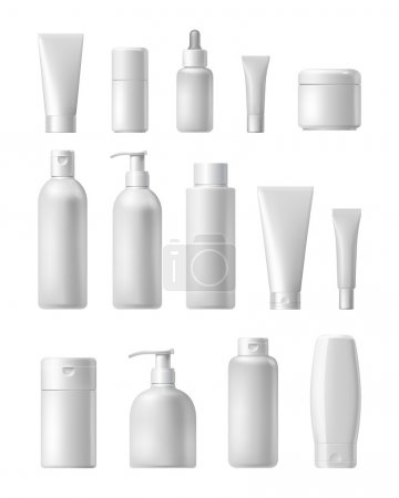 Illustration pour Modèle de marque cosmétique. Emballage vectoriel. Huile, lotion, shampooing. Bouteille réaliste maquette mise en place. Emballage isolé sur fond blanc . - image libre de droit