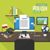 Flat design vector illustration concept of learning Polish language online distance education and online training courses Polish online