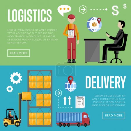 Illustration for Logistics and delivery banner set of logistics process services isolated vector illustration. Warehouse management concept. - Royalty Free Image