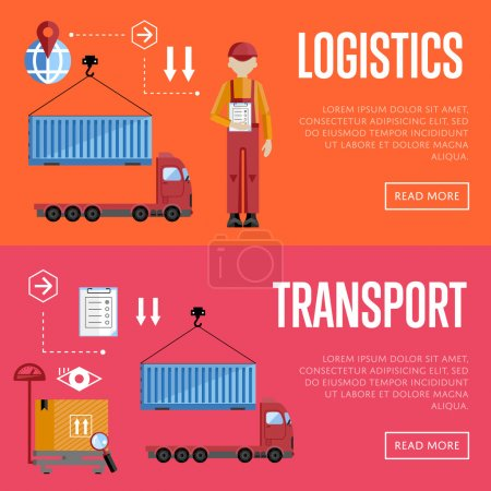 Illustration for Logistic and transportation banners set of delivery process, isolated vector illustration. Truck and porters. - Royalty Free Image