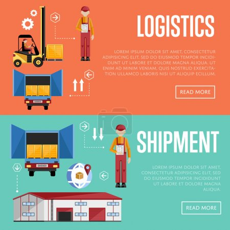 Illustration for Shipment and logistic banners set vector illustration. Warehouse process infographics. Porter on a truck to ship the goods. Warehouse management concept. Flat design illustration. - Royalty Free Image