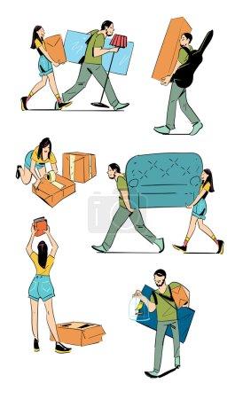 Illustration pour Illustration vectorielle du concept de déménagement. Jeune couple faisant un déménagement nouveau foyer. Esquisses sur le déplacement. Dessin manuel . - image libre de droit