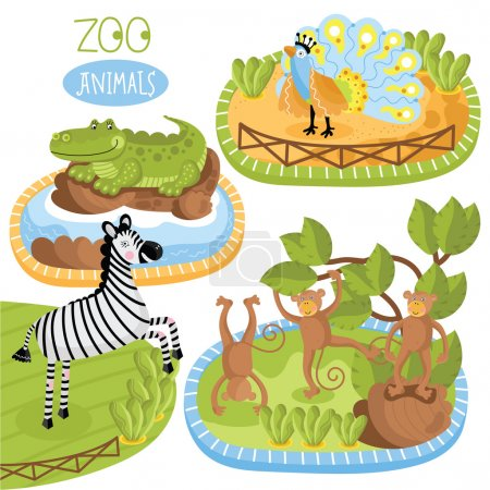 Illustration for Vector zoo animals. Such as zebra, crocodile and other. - Royalty Free Image