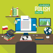 Flat design vector illustration concept of learning Polish language online distance education and online training courses