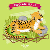 Vector Zoo Animals series Animal in a cage Tiger Illustration Cartoon Character Cartoon Zoo Animal Vector Tiger