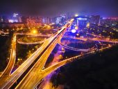 Chengdu, Sichuan, China, tianfu Avenue at night