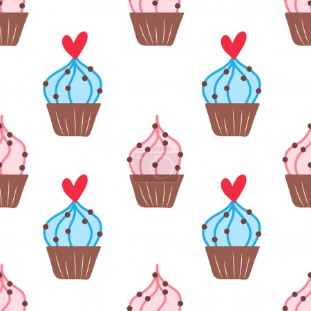 Illustration pour Seamless pattern with cakes and hearts. Vector background with muffins on a white background - image libre de droit
