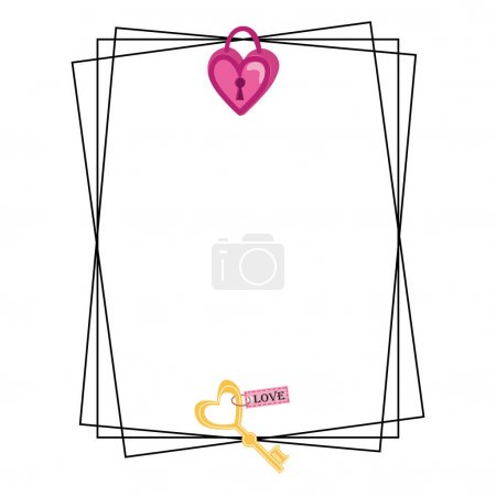 Illustration pour Square Frame With Lock And Key in Doodle Style. Isolated objects perfect for Valentine's day card or romantic post cards - image libre de droit