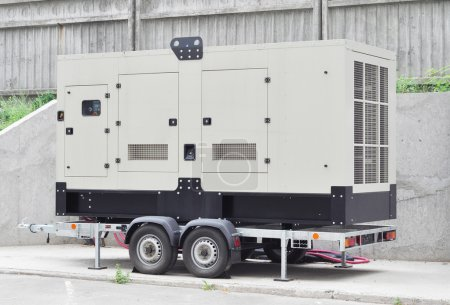 Mobile Diesel Generator on the Office Building Wall