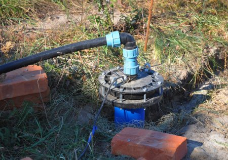 New Installed Water Bore. Pumping air from compressor into from