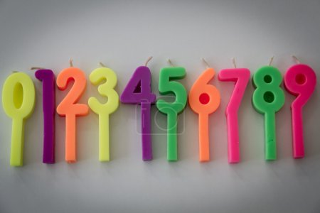 Photo for Colorful Candles shaped as numbers - Royalty Free Image