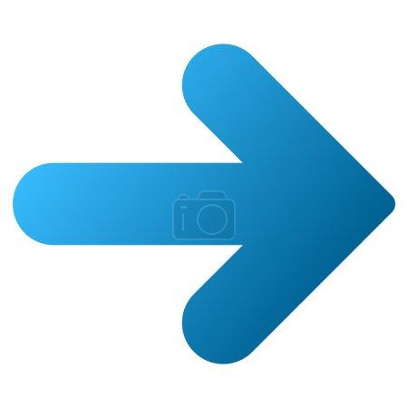 Photo pour Flèche icône de barre d'outils matricielle droite pour la conception de logiciels. Style est le symbole de l'icône de dégradé sur un fond blanc . - image libre de droit