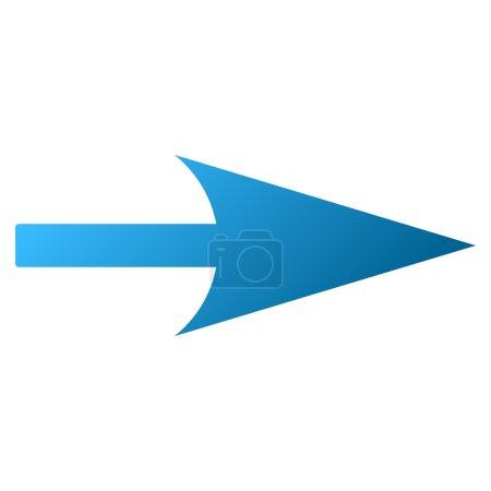 Photo pour Sharp flèche droite raster icône de la barre d'outils pour la conception de logiciels. Style est le symbole de l'icône de dégradé sur un fond blanc . - image libre de droit