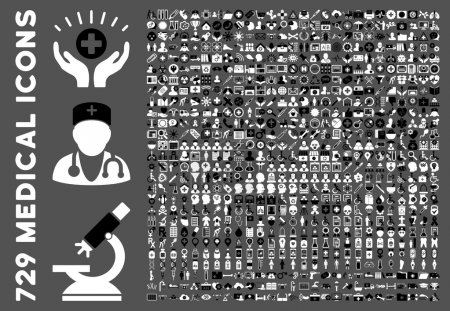 Photo for Medical Icon Set with 729 glyph icons. Style is bicolor black and white flat icons isolated on a gray background. - Royalty Free Image