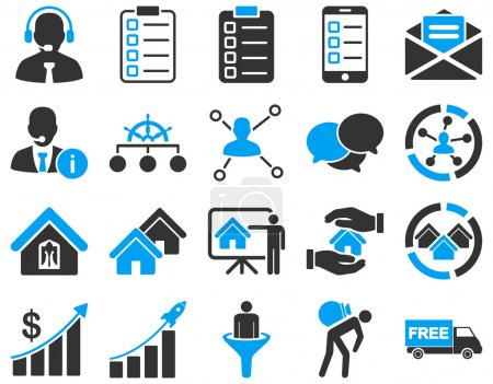 Photo for Business, sales, real estate icon set. These flat bicolor symbols use modern corporate light blue and gray colors. Images are isolated on a white background. Angles are rounded - Royalty Free Image