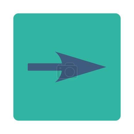 Photo pour Icône Arrow Axis X de Primitive Buttons OverColor Set. Ce bouton plat carré arrondi est dessiné avec des couleurs cobalt et cyan sur un fond blanc - image libre de droit