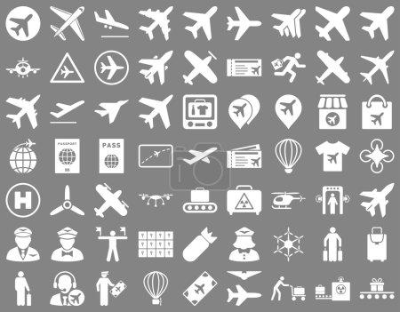 Photo pour Icône d'aviation prête. Ces icônes plates utilisent la couleur blanche. Les images raster sont isolées sur un fond gris - image libre de droit