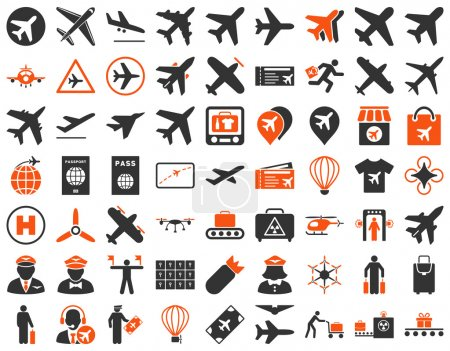 Photo for Aviation Icon Set. These flat bicolor icons use orange and gray colors. Raster images are isolated on a white background - Royalty Free Image