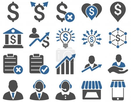 Photo for Trade business and bank service icon set. These flat bicolor icons use cobalt and gray colors. Images are isolated on a white background. Angles are rounded - Royalty Free Image