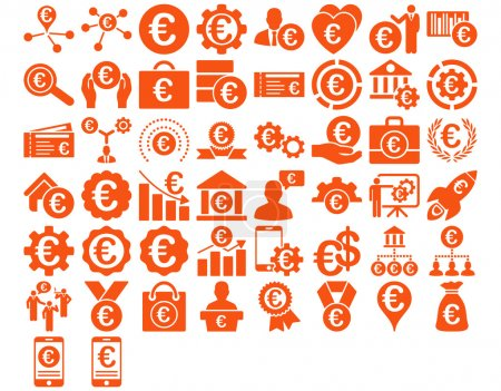 Photo for Euro Business Iconst. These flat icons use orange color. Glyph images are isolated on a white background - Royalty Free Image