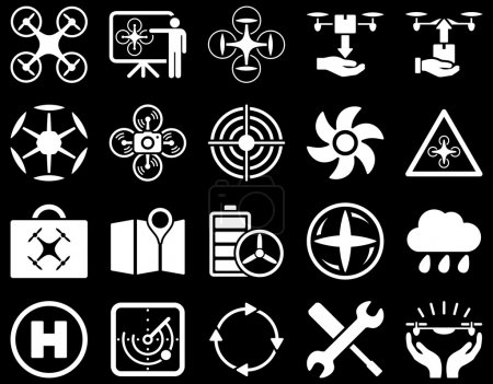 Photo for Air drone and quadcopter tool icons. Icon set style is flat glyph images, white symbols, isolated on a black background - Royalty Free Image