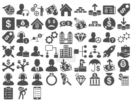 Photo for Commerce Icon Set. These flat icons use gray color. Glyph images are isolated on a white background - Royalty Free Image