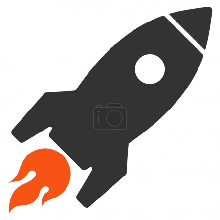 Photo for Rocket Launch icon from Commerce Set. Glyph style is bicolor flat symbol, orange and gray colors, rounded angles, white background - Royalty Free Image