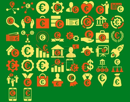 Photo for Euro Business Iconst. These flat bicolor icons use orange and yellow colors. Glyph images are isolated on a green background - Royalty Free Image