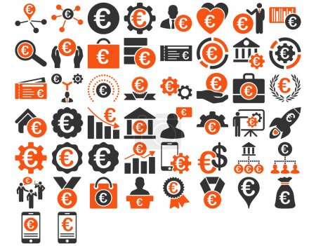 Photo for Euro Business Iconst. These flat bicolor icons use orange and gray colors. Glyph images are isolated on a white background - Royalty Free Image