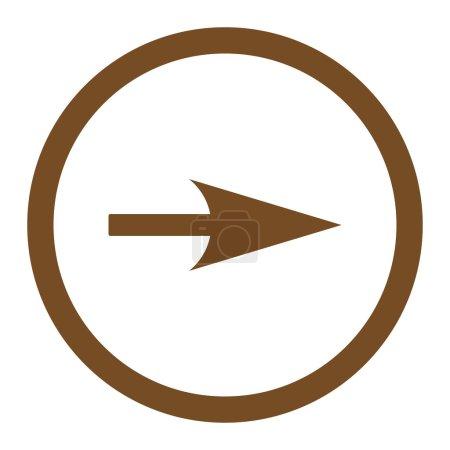 Photo pour Flèche Axe X icône raster. Ce symbole plat arrondi est dessiné avec une couleur brune sur un fond blanc - image libre de droit