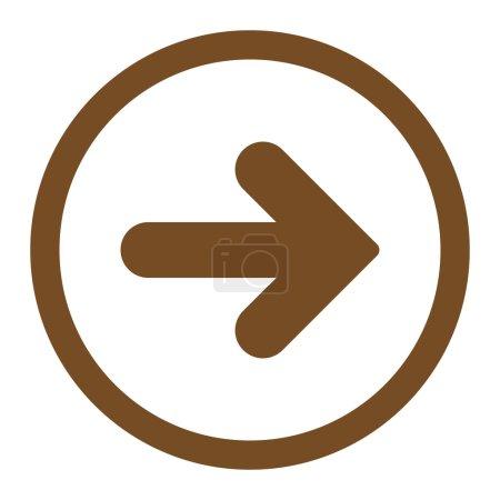 Photo pour Flèche icône raster droite. Ce symbole plat arrondi est dessiné avec une couleur brune sur un fond blanc - image libre de droit