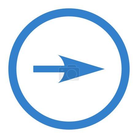 Photo pour Flèche Axe X icône raster. Ce symbole plat arrondi est dessiné avec la couleur de cobalt sur un fond blanc - image libre de droit