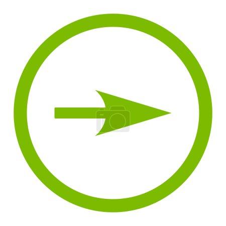 Photo pour Flèche Axe X icône raster. Ce symbole plat arrondi est dessiné avec une couleur vert éco sur un fond blanc - image libre de droit