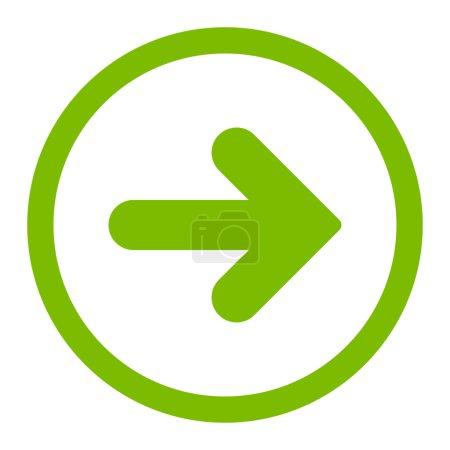 Photo pour Flèche icône raster droite. Ce symbole plat arrondi est dessiné avec une couleur vert éco sur un fond blanc - image libre de droit