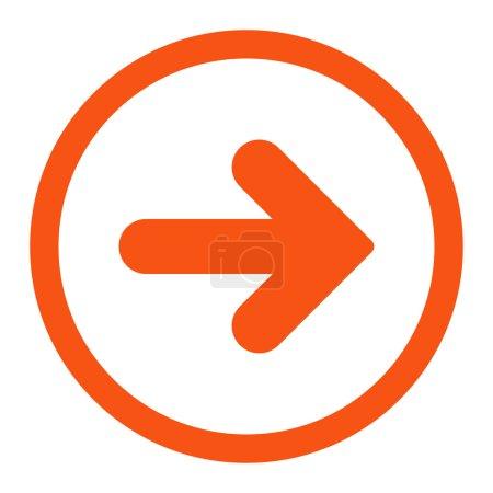 Photo pour Flèche icône raster droite. Ce symbole plat arrondi est dessiné avec une couleur orange sur un fond blanc - image libre de droit